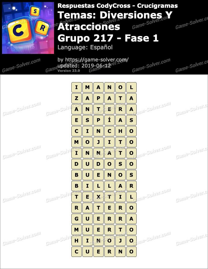 Respuestas CodyCross Diversiones y Atracciones Grupo 217-Fase 1