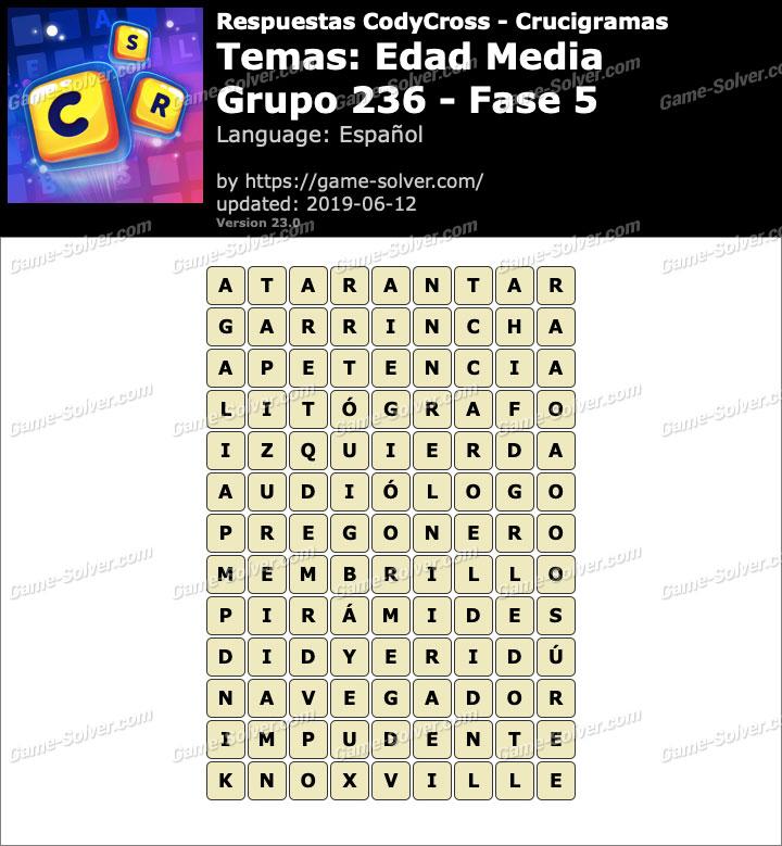 Respuestas CodyCross Edad Media Grupo 236-Fase 5