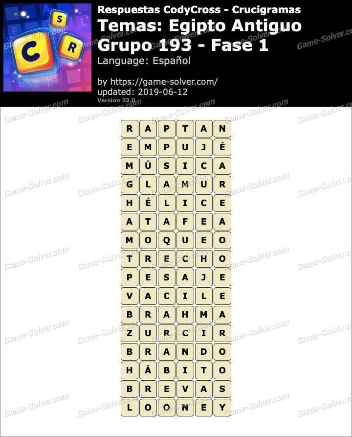 Respuestas CodyCross Egipto Antiguo Grupo 193-Fase 1