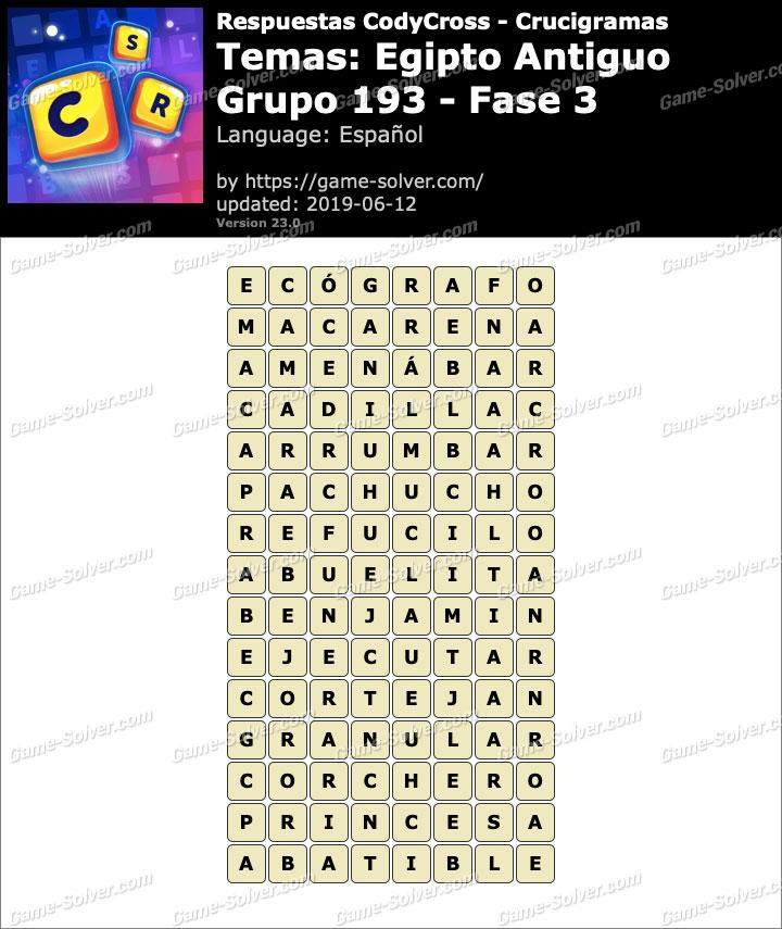 Respuestas CodyCross Egipto Antiguo Grupo 193-Fase 3