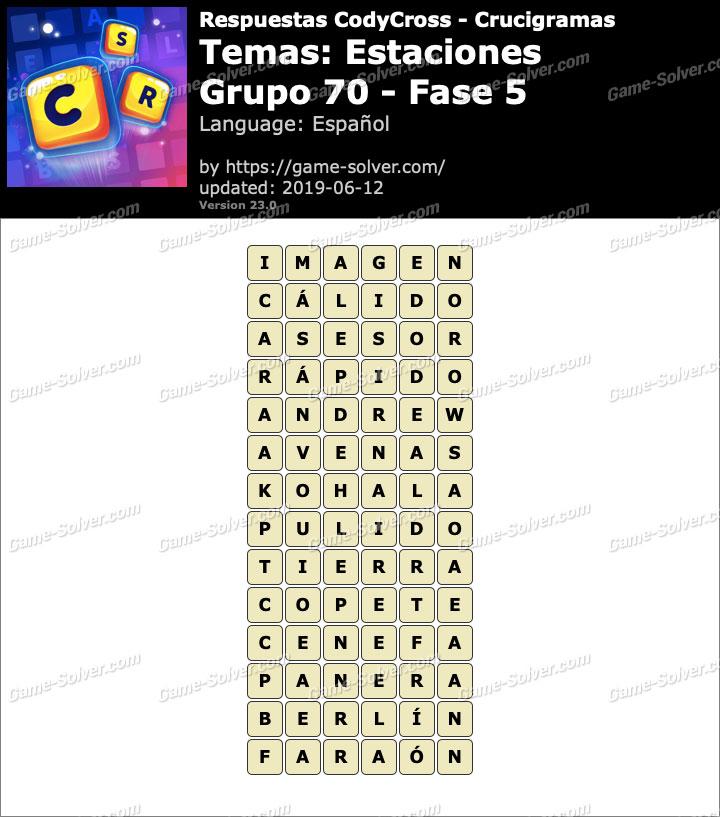 Respuestas CodyCross Estaciones Grupo 70-Fase 5