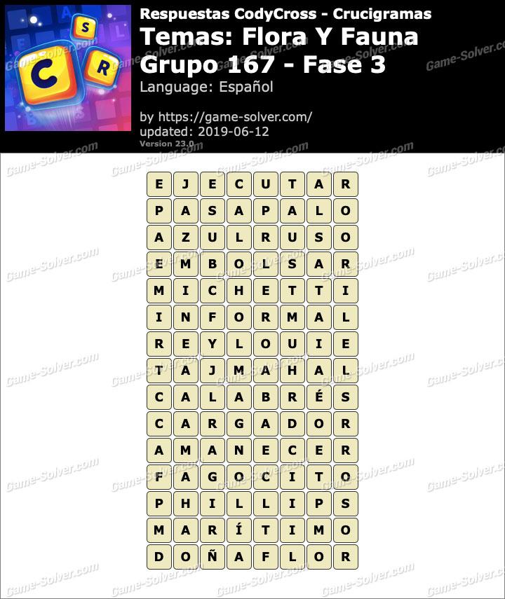 Respuestas CodyCross Flora y Fauna Grupo 167-Fase 3