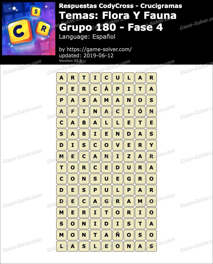 Respuestas CodyCross Flora y Fauna Grupo 180-Fase 4