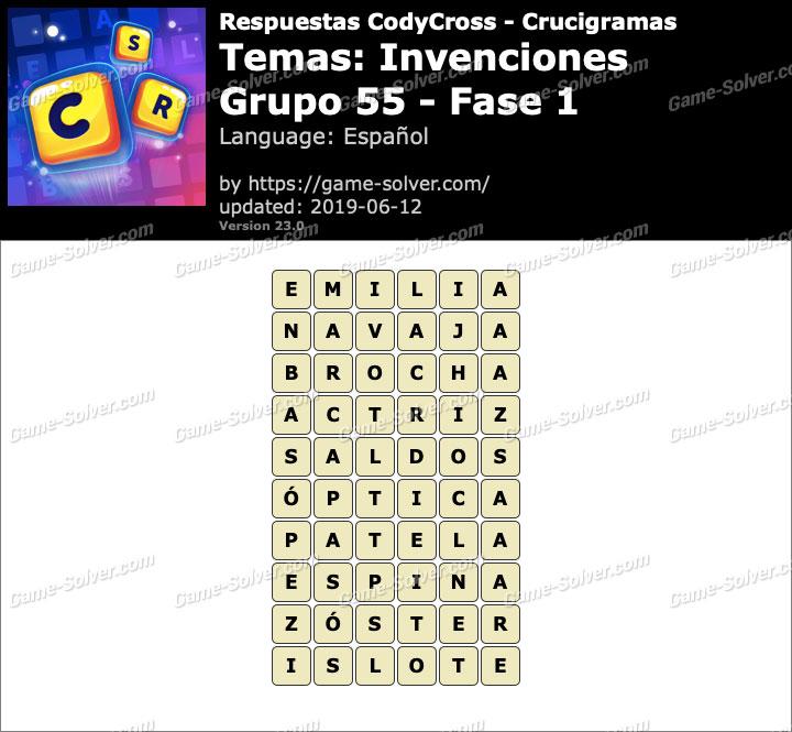 Respuestas CodyCross Invenciones Grupo 55-Fase 1