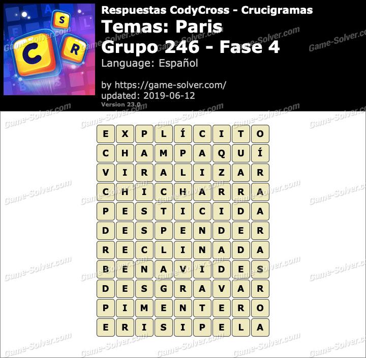 Respuestas CodyCross Paris Grupo 246-Fase 4