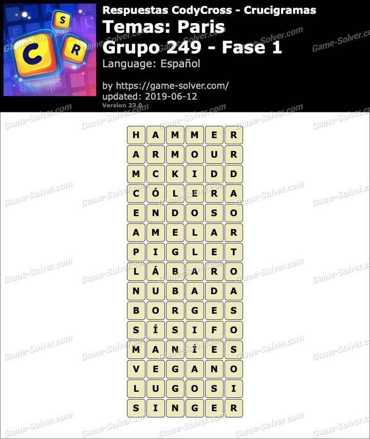 Respuestas CodyCross Paris Grupo 249-Fase 1
