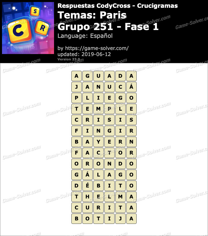 Respuestas CodyCross Paris Grupo 251-Fase 1