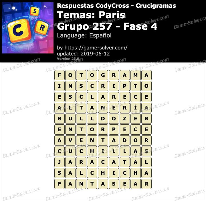 Respuestas CodyCross Paris Grupo 257-Fase 4