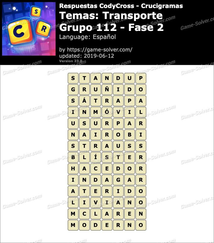 Respuestas CodyCross Transporte Grupo 112-Fase 2