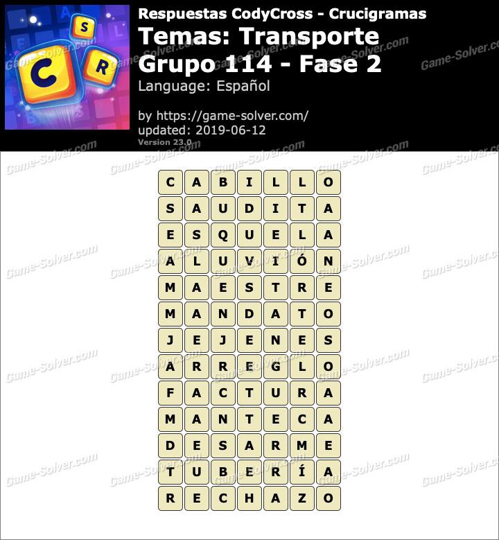 Respuestas CodyCross Transporte Grupo 114-Fase 2