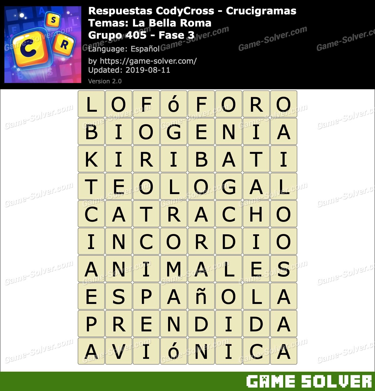 Respuestas CodyCross La Bella Roma Grupo 405-Fase 3