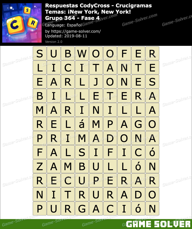 Respuestas CodyCross New York New York Grupo 364-Fase 4