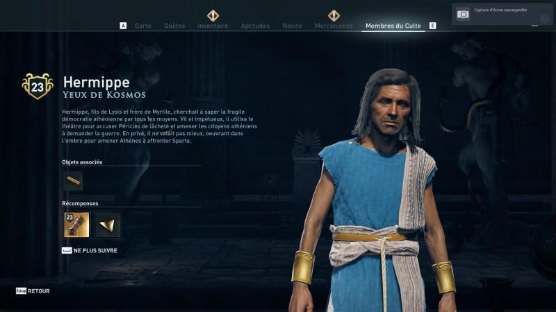 Assassin's Creed Odyssey trouver et tuer les adeptes du culte du Kosmos, ps4, xbox one, pc, ubisoft, jeu vidéo, Yeux de Kosmos, hermippe