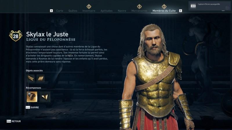 Assassin's Creed Odyssey trouver et tuer les adeptes du culte du Kosmos, ps4, xbox one, pc, ubisoft, jeu vidéo, Skylax le juste, ligue du péloponnèse