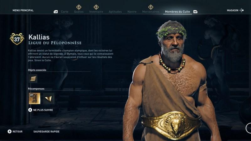 Assassin's Creed Odyssey trouver et tuer les adeptes du culte du Kosmos, ps4, xbox one, pc, ubisoft, jeu vidéo, Ligue du péloponèse Kallias