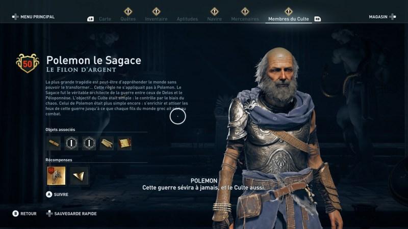 Assassin's Creed Odyssey trouver et tuer les adeptes du culte du Kosmos, ps4, xbox one, pc, ubisoft, jeu vidéo, polemon le sagace, le filon d'argent