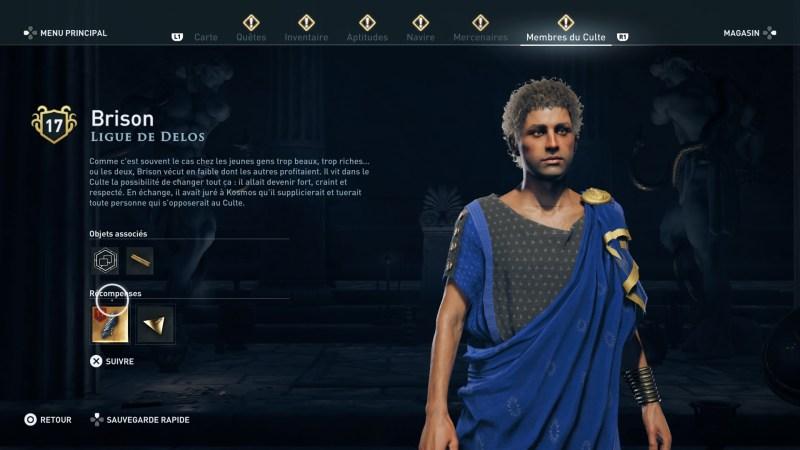 Assassin's Creed Odyssey trouver et tuer les adeptes du culte du Kosmos, ps4, xbox one, pc, ubisoft, jeu vidéo, Ligue de Delos, brison