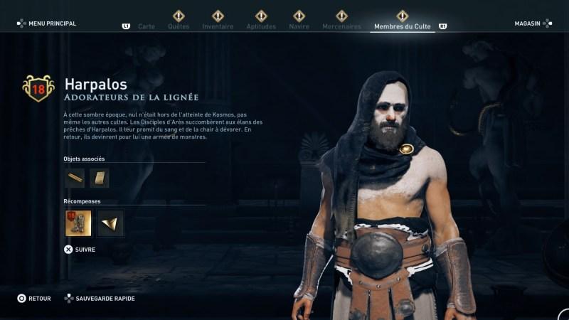 Assassin's Creed Odyssey trouver et tuer les adeptes du culte du Kosmos, ps4, xbox one, pc, ubisoft, jeu vidéo, adorateur de la lignée, harpalos