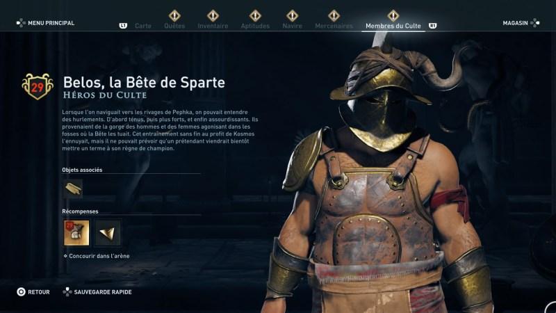 Assassin's Creed Odyssey trouver et tuer les adeptes du culte du Kosmos, ps4, xbox one, pc, ubisoft, jeu vidéo, les héros du culte, belos la bête de sparte