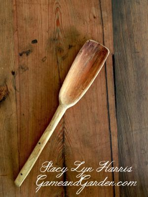 The hickory wood for this Gumbo Paddle is hand-picked and hand-hewn by our artisans. Hickory is known for its toughness, strength, and stiffness and is used for tools, wheels, walking sticks and now my Gumbo Paddle. This kitchen tool will become an heirloom as you stir soups, gumbo, or make fresh scrambled eggs through the years in tender care for your family. From my home to yours….