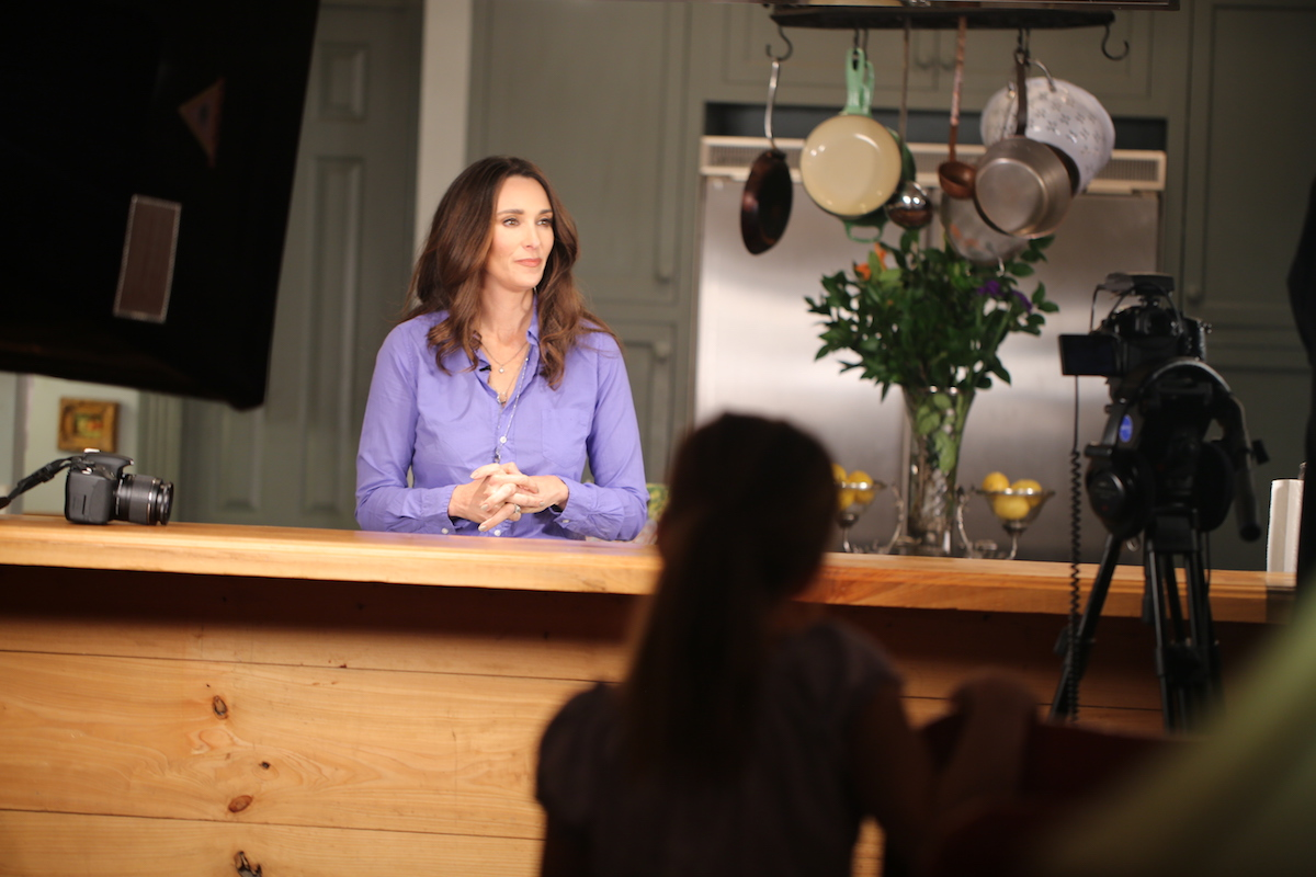 Stacy Lyn Harris Filming for The Sporting Chef TV Show 2017