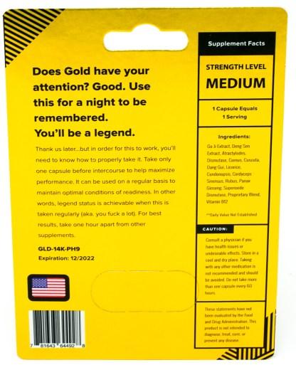 Rhino Gold 14-K Male Enhancement Supplement Blister Pack Back