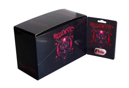 Red Devil Pill Card and Box