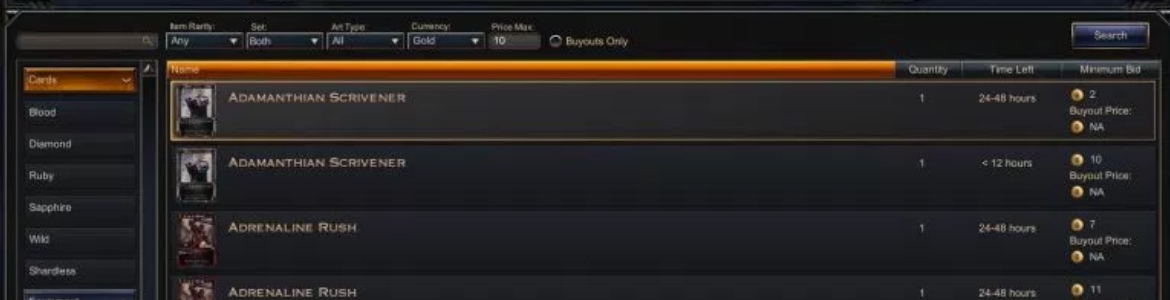 Hex Auction House Search