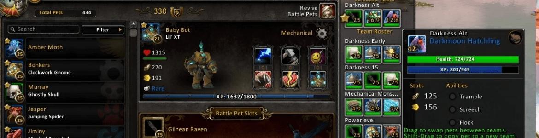 WoW Pet Battle Addon Team UI