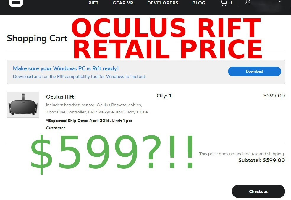 The Consumer Oculus Rift Finally Has a Confirmed Price
