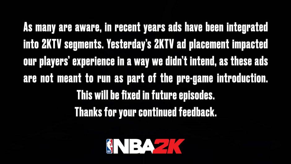 NBA 2K21 in-game ads statement