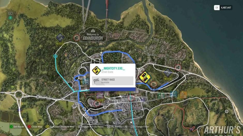 Forza Horizon 4 _:NIGHTCITY.EXE:_ world map location