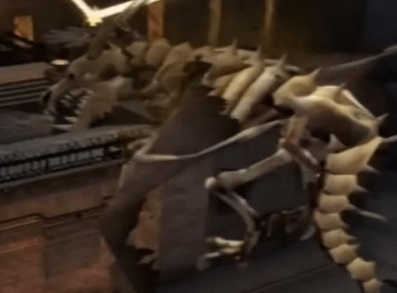 Revived skeletal dragon Ladon