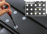 VESA寸法の固定器具を装備。24インチまでのモニター設置が可能です。