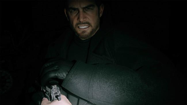 クリスに銃を向けるイーサン・ウィンターズ