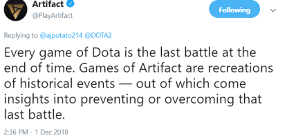 Artifact tweet - lore