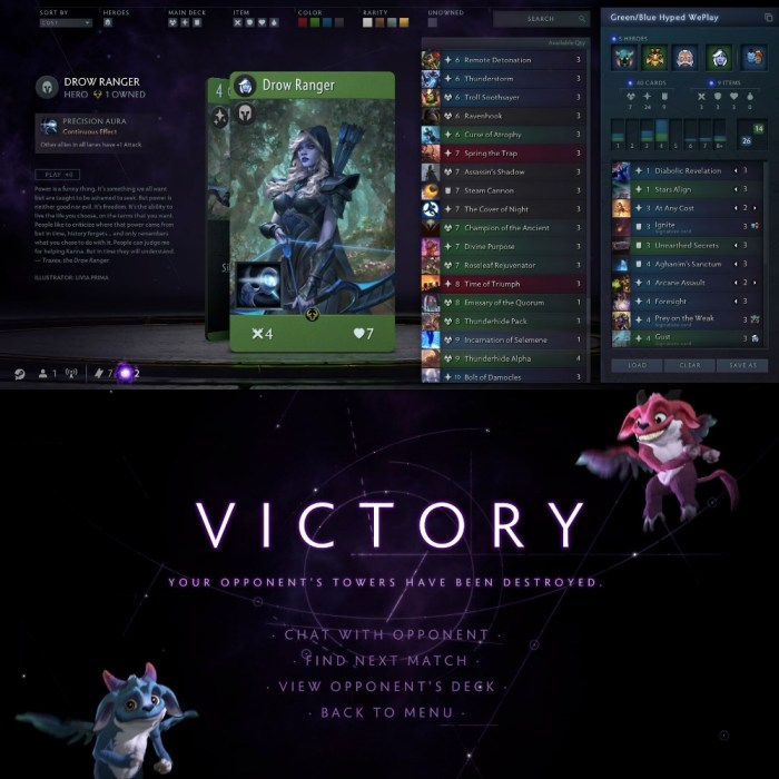 Artifact Deckbuilder & Victory screen