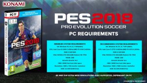 pes 2018 system requirements