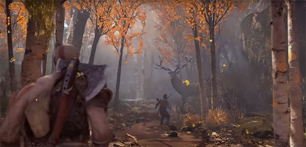 god-of-war-protagonist-kratos-and-his-son-charlie-find-a-male-deer-to-hunt-down