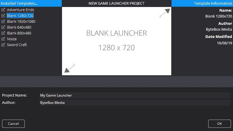 New Game Launcher Dialog