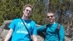 Cody Gough, left, and Jonathan Martin, right, hang out on a hiking trail in Colorado.