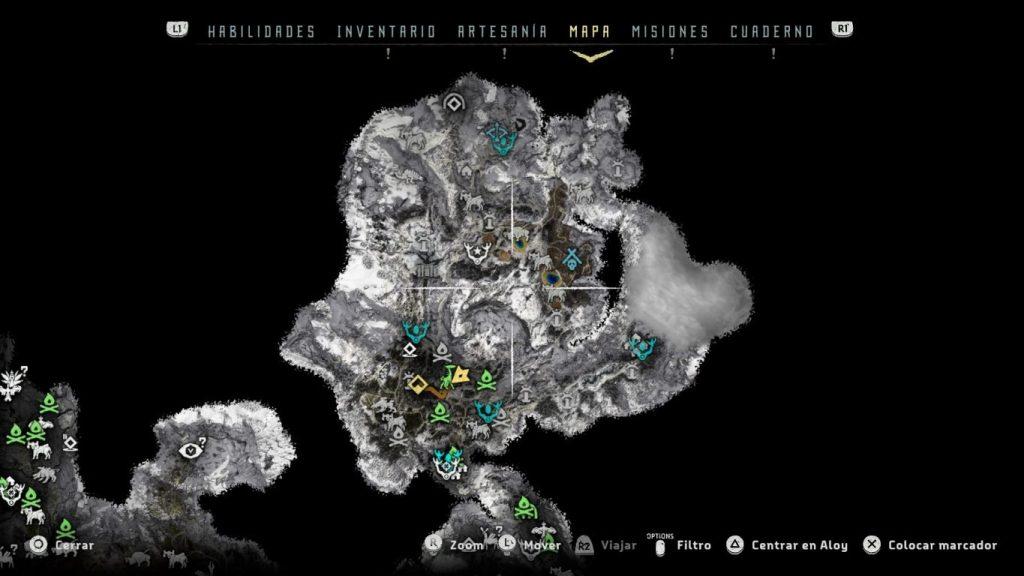 Mapa Horizon Zero Dawn: The Frozen Wilds