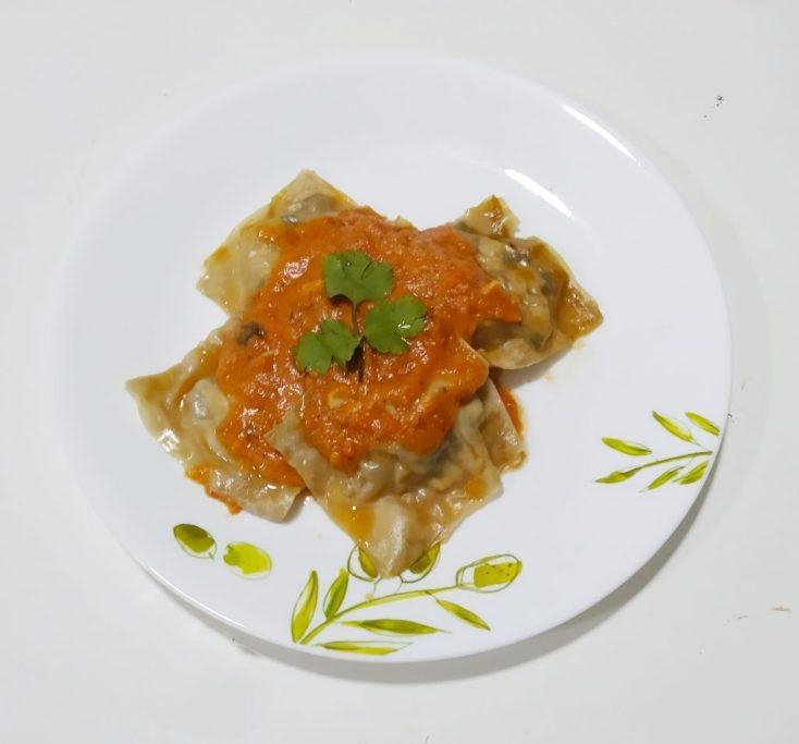 Tofu wonton ravioli pasta-vegetarian recipe