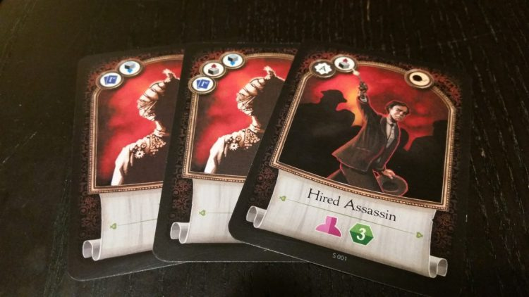 Cards from the red starter deck. The symbols across the top depict which actions you can take when you play a card.