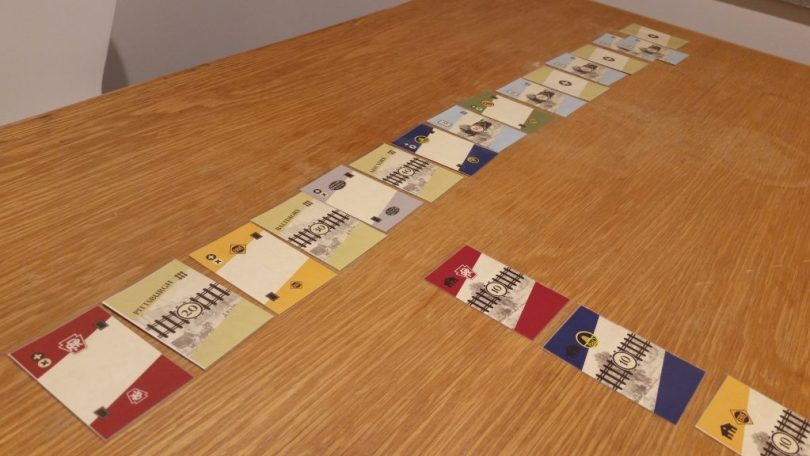 The row of cards that dictates each round, including stocks, trains, and destination cards.