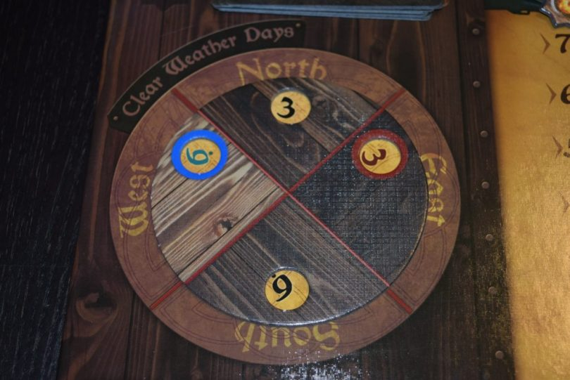 The wind dial allows for a simple, clever way for players to keep track of how many clear weather days they have in each area.