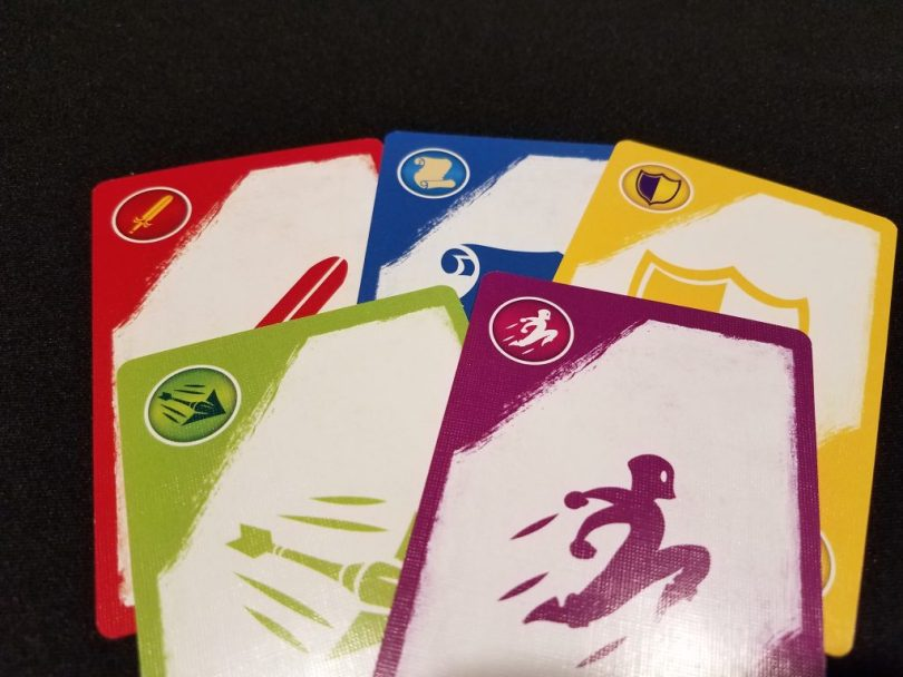 The basic cards that each deck contains show these 5 symbols, needed to defeat foes and overcome obstacles.