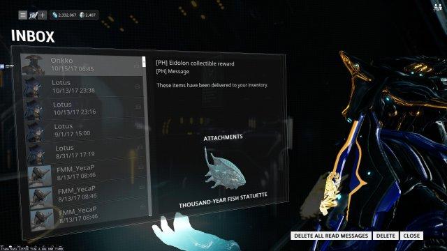 Warframe - Ubicaciones de estatuillas de peces de mil años