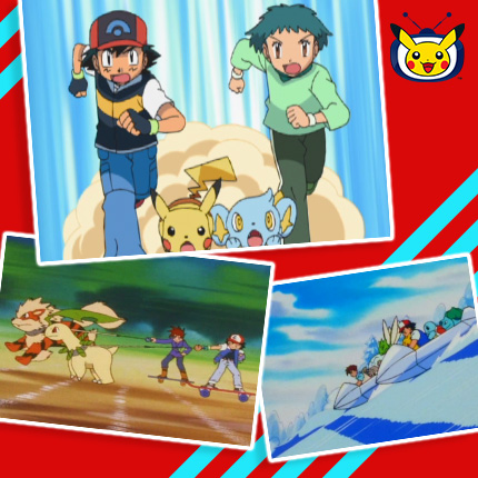 Ash and Pikachu compete in races in Pokémon the Series episodes on Pokémon TV