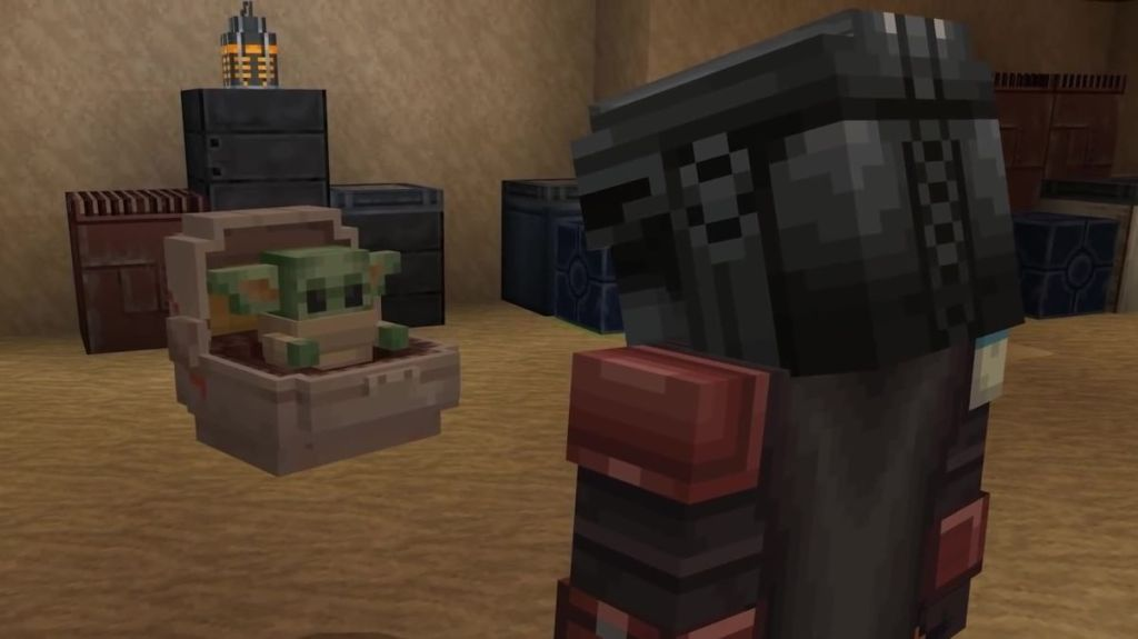 Minecraft Star Wars DLC features voxel version of Baby Yoda and Jabba the Hutt